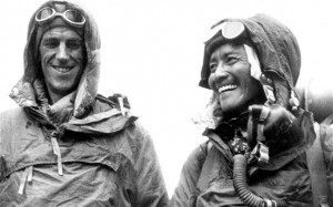 Sir Hillary and Norgay smile after summitting the Mt. Everest